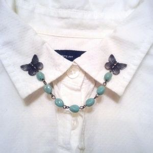 Black Butterfly Collar Pins Turquoise Collar Chain